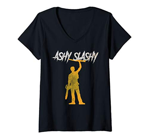 Womens ASHY SLASHY My Boomstick Shotgun Chainsaw Dead Tee Evil V-Neck T-Shirt