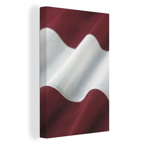 Leinwandbild - Nahaufnahme der wehenden Flagge von Lettland - 20x30 cm