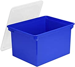 Storex Portable File Tote with Lid, 18.5 x 14.25 x 10.88 Inches, Blue (STX61554U01C)