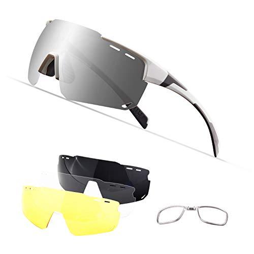 Gafas Ciclismo Polarizadas con 4 Lentes Intercambiables UV 400 Gafas,Corriendo,Moto MTB Bicicleta...