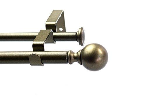 "Urbanest Ball Adjustable Double Drapery Curtain Rod Set, 5/8"", 48""-84"", Antique Gold"