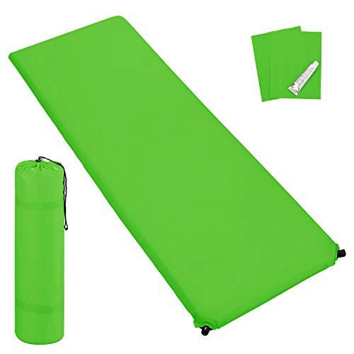 Outdoor Isomatte, selbstaufblasend, ca. 2 m Länge, inkl. Flick Set - selbstaufblasbare Luftmatratze geeignet zum Camping und fürs Zelt mit kleinem Packmaß (grün, 6 cm Polsterdicke)