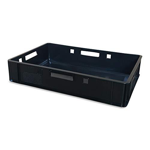 E1 Kiste 60x40x12,5 cm Metzgerkiste Lagerkiste Geschirrkiste Eurobehälter rot, grau, schwarz, blau, grün (schwarz)