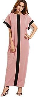 Verochic Fashion Contrast Color Short sleeve Long Maxi Dress Pink
