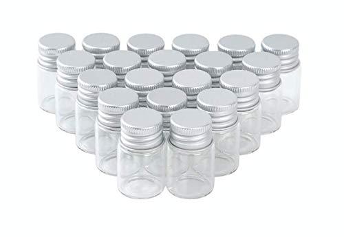 Fines ガラス瓶 ミニチュア ボトル フタ付き 20個 セット (6ml)