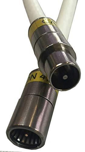 Kab24® HQ Antennenkabel Schirmung > 115 dB EN 60966-2-6 Klasse A+ mit beidseitigen Kompressionssteckern (15m, F-Stecker Quick <> Koax-Stecker)