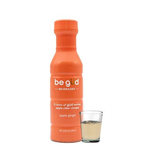 Be Gud Beverages Apple Cider Vinegar Shots – Bottle of 12 Daily Shots of Apple Cider Vinegar with Natural Apple Ginger Flavor – Great Tasting ACV Shots Support Detox + Immunity, One 12 oz Bottle
