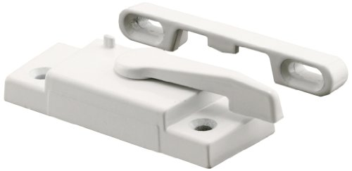 Prime-Line Products F 2625 LEFT Hand, Vinyl Single Hung Window Sash Lock, 2-1/16 in., Diecast, White, Keeper Included