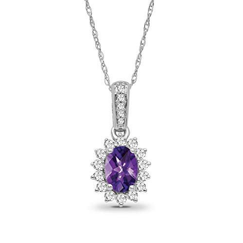 925 Sterling Silver 1/3 CTW Diamond & Oval Amethyst Halo Dangle Pendant Rope Chain Necklace 18 inch for women -  Araiya Fine Jewelry, PD02294-AMT
