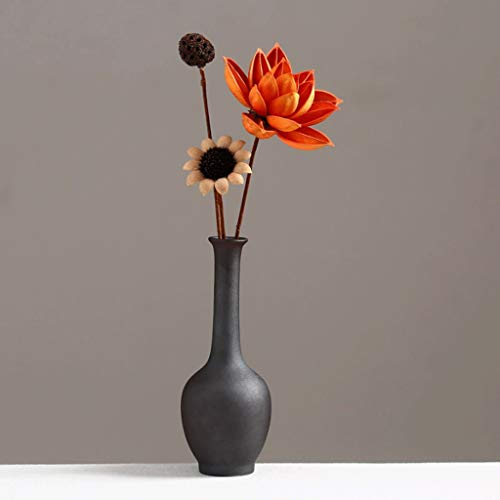 NYKK Vases Vintage Black Pottery Flower Decoration Ceramic Small Vase + Dried Flower Decoration Living Room Decorative Border TV Cabinet Dining Table Zen Flower Pot Desktop Vase