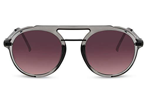 Cheapass Sunglasses - Gafas de sol redondas transparentes grises retro Steampunk lentes degradados oscuros y Metálicas negro mate UV400 Hombres