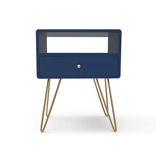 Nachtkastje LKU Modern ijzeren gouden nachtkastje salontafel nachtkastje meubelen nachtkastje, B, blauw