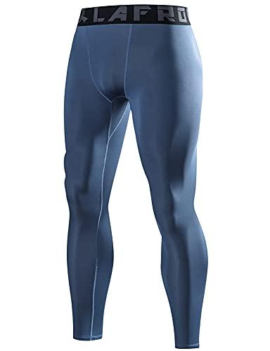LAFROI - Mallas de compresión YSK08 ajustadas y de secado rápido, con cinturilla, para hombre, Azul grisáceo, 3XL