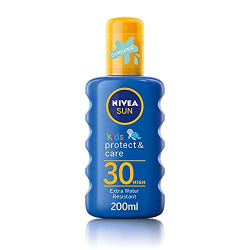 Nivea SUN Kids Protect & Care Coloured Spray SPF 30+ (200 ml) Sunscreen Spray with SPF 30 Kids...