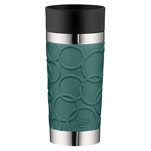 alfi Thermobecher isoMug Plus Soft, Kaffeebecher to go Edelstahl türkis 350ml, Isolierbecher mit Druckknopf, auslaufsicher, zerlegbarer Verschluss, 5635.293.035 spülmaschinenfest, 4 Stunden heiß