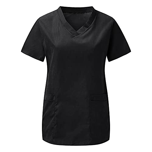 Kavitoz Damen Kasack Schlupfjacke Krankenhaus Pflege Uniform V-Ausschnitt Oberteil Kurzarm Hemd Lässig Oberkleidung Schlupfhemd Arbeitskleidung Krankenhaus-Kleidung mit Taschen
