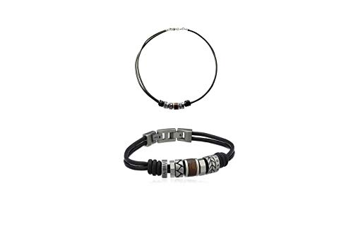 Fossil Homme Bijoux JF84068040 + Fossil Homme Bracelet en cuir noir et perles en acier inoxydable JF84196040