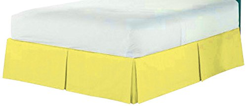Jenylinen Room Collection 100% Egyptian Cotton Queen Size (60' X 80') Luxurious Yellow Split Corner Bed Skirt/Dust Ruffle (1 PC) Solid Style (550-TC) Fits Upto 15' Inch Drop Length