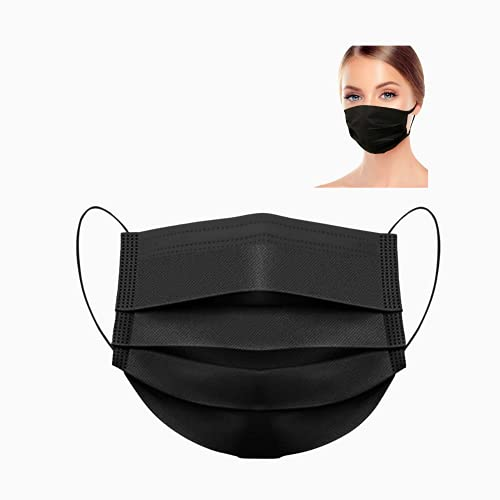 MASSIMO 007 50 Stück Medizinische Masken Schwarz OP Masken Schwarz CE Zertifiziert EN14683 TYP IIR BFE ≥ 98% Schwarze Gesichtsmaske Medizinischer Mundschutz schwarz Mund Nasenschutz schwarz