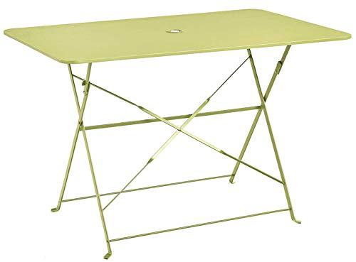 PEGANE Table Pliante rectangulaire en métal Coloris Pomme - Dim : 110 x 70 x 70cm