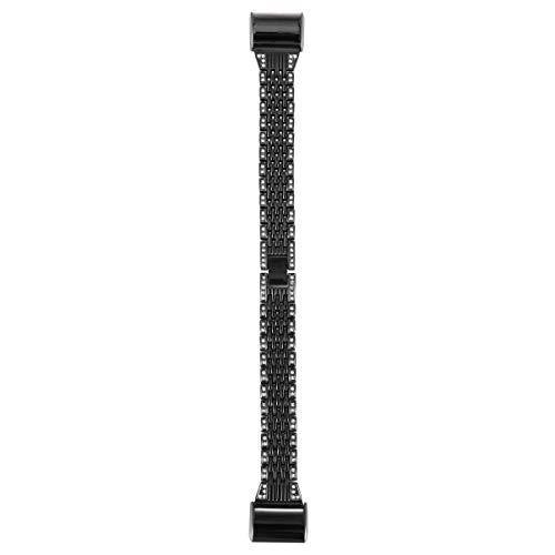 Pulseira de relógio UKCOCO compatível com Fitbit Charge 2 – Pulseira de aço inoxidável de substituição de metal com fivela de relógio de luxo para mulheres e mulheres, Preto, 19.5X1.8CM