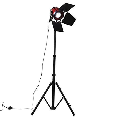 BABYCOW Lámpara de pie, Foco Retro Reflector de Altura 360 ° Ajustable E27 de una Sola Cabeza, Pintura Negra Vieja, trípode de Hierro, luz de pie, 150 cm, para Sala de Estar, Dormitorio, Estudio