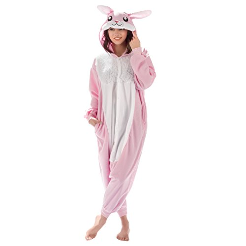 Emolly Fashion Adult Bunny Animal Onesie Costume Pajamas for Adults and Teens (Medium) Pink/White