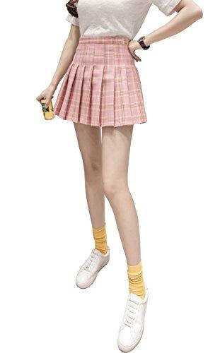 Hoerev Women Girls Short High Waist Pleated Skater Tennis School Skirt,L, Pink Stripes - 10