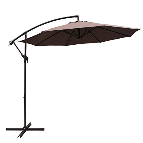 COBANA 10' Cantilever Freestanding Patio Umbrella Hanging Outdoor Umbrella with Crank and Base, 250g/sqm Polyester, Coffee