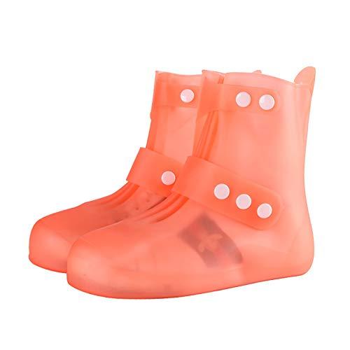 RTETR Cubrezapatos de Silicona Transparente Botas de Lluvia para Exteriores Plegables, Fundas de Zapatos Antideslizantes Reutilizables, adecuadas para días de Lluvia y Nieve(XXL,Naranja)