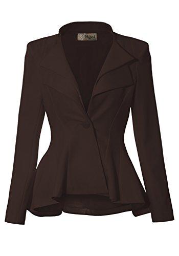 Women Double Notch Lapel Office Blazer JK43864 1073T Brown 1X