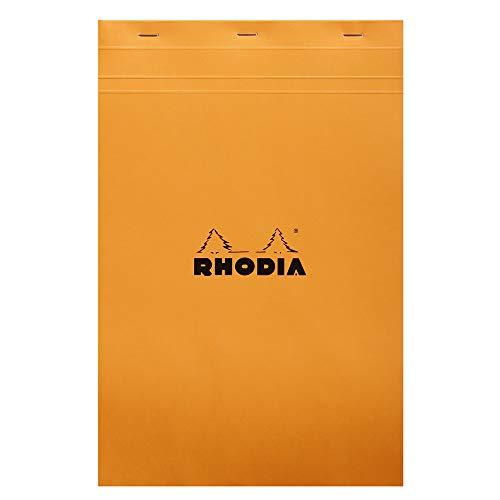 Rhodia Head Stapled Pad, No19 A4+, Square Ruling - Orange