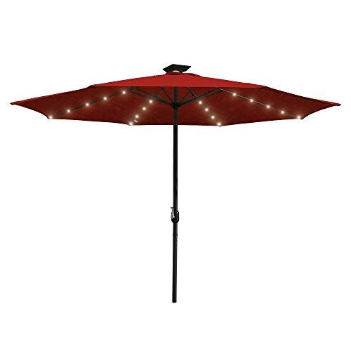 Hengda Sonnenschirm mit LED Beleuchtung Ampelschirm 300cm Solar Garten Schirm Pavillon