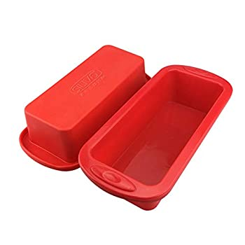 Silicone Bread and Loaf Pans - Set of 2 - SILIVO Non-Stick Silicone Baking Mold for Homemade Cakes Breads Meatloaf and Quiche - 8.9 x3.7 x2.5