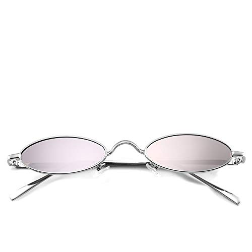 BAN SHUI JU MINSU GUANLI Foto Decorativa Estrecha en Forma de cápsula Gafas de Sol Retro pequeñas Gafas de Sol ovaladas Juventud Y Elegancia (Color : C7)