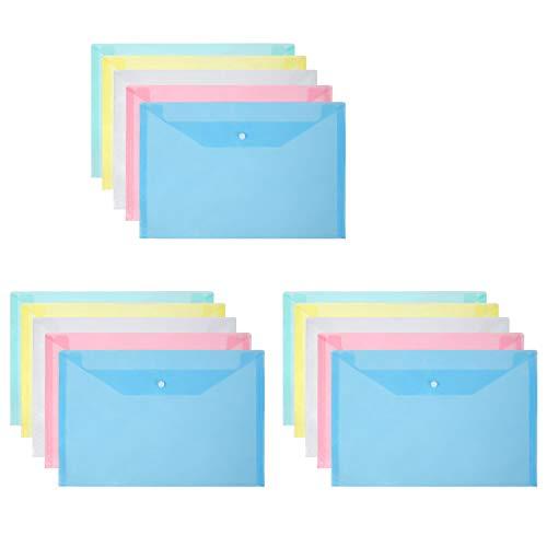 Vicloon Cartelle Portadocumenti in Plastica, A4 Portadocumenti Trasparente Busta con Bottone per Scuola e Ufficio, 5 colori (15pcs)