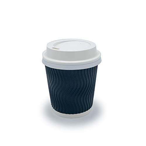 silverkitchen 25x Pappbecher schwarz 177 ml | Coffee to Go Becher mit Deckel | Einwegbecher aus Pappe geriffelt | Stabiler Heißgetränkebecher doppelwandig | Kaffeebecher Papbecher