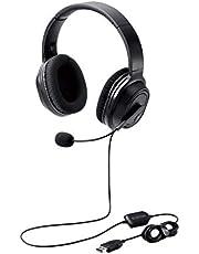 エレコム ヘッドセット マイク付き USB オーバーヘッド 有線 両耳 40mmドライバ ブラック HS-HP30UBK