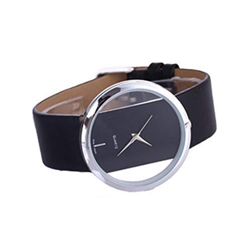 Correa hueco de doble cara de reloj del cuero perspectiva creativa Reloj del cuarzo de las mujeres de la moda' s con una función de la batería Negro