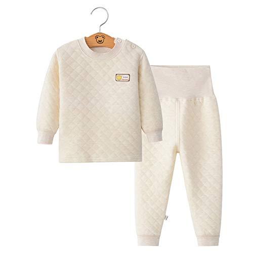 ALLAIBB ALLAIBB Winter-Winter-Pyjama-Sets für Kleinkinder aus Baumwolle, gepolsterte Top-Hosen Size 73 (Kaffee)