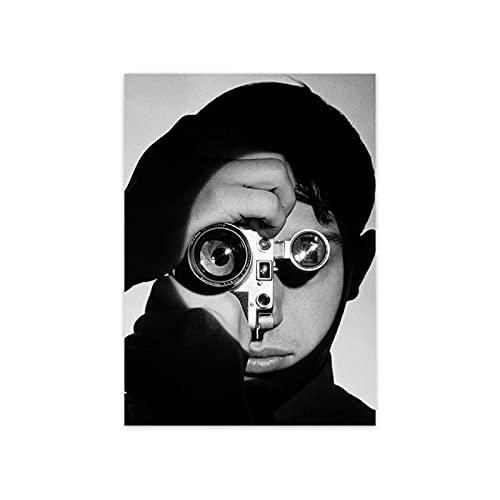 YYAYA.DS Lona Pared Arte Póster artístico de Pared Blanca y Trasera nórdica cámara Vintage para Mujer Imagen de minimalismo Moderno decoración del hogar 60x90cm