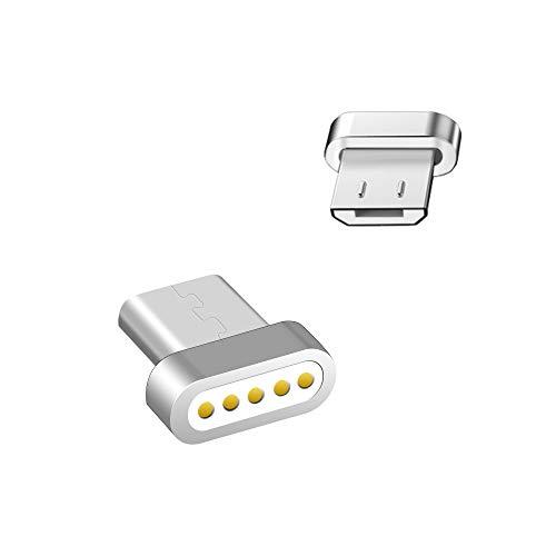 LAMA Magnet Micro USB Adapter [2 Stück] Magnetischer Micro USB Magnetstecker Ersatzstecker für Samsung Galaxy Huawei Sony Moto Google HTC Lumia Nexus Xiaomi PS4 Kindle und weitere (ohne Kabel) Silber