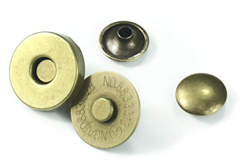 ALL in ONE Magnetic Snaps Purse Double Rivet Closures Round Clasp Stud Button (Antique Bronze 10 Sets)