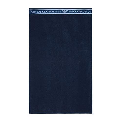 Emporio Armani Swimwear Towel Bold Logo Tape Cinta, Navy Blue, UNI Unisex Adulto