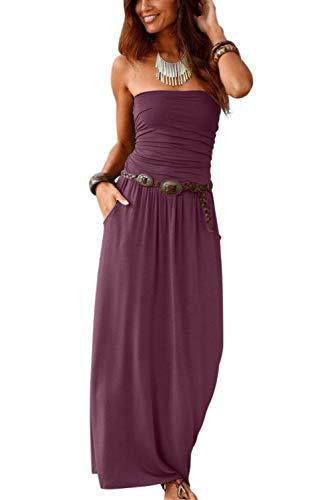 Ancapelion Damen Blumenmuster Maxikleid Langes Kleider Bandeau Kleid Böhmen Sommerkleid Trägerloses Strandkleid Elegante Abendkleid