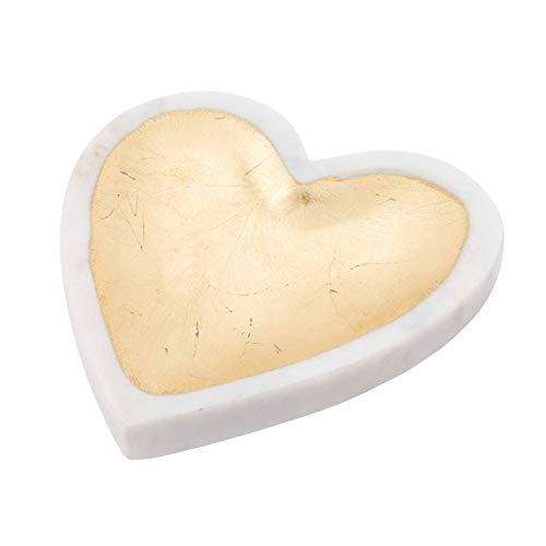 Mud Pie White Marble Foil Heart Tray