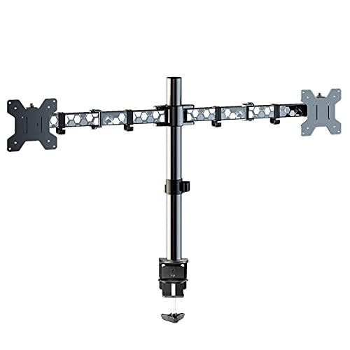 ZDZQDD Soporte de Monitor de Juego, Soporte de Monitor Dual para Pantallas VESA 75/100 de 13-27 Pulgadas, Brazo de Monitor Ajustable de Altura con 2 métodos de instalación-Plata