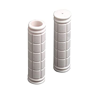 kaaka 1 Pair Stylish Bright Color Non-Slip Rubber Handlebar Cover Grips for Fixed Gear Bike Kids Bicycle Folding Bike Maintenance Replacement Part Accessories White
