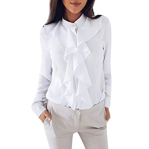 TUDUZ Damen Bluse Elegant Chiffon V-Ausschnitt Langarm Oberteil mit Rüschen Vorne Tunika Hemd T-Shirt(S,Weiß)