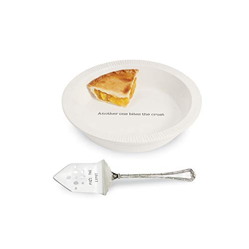 Mud Pie Circa Pie Plate with Server, White/Silver